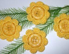 Flores a ganchillo botones-Botones forrados a ganchillo