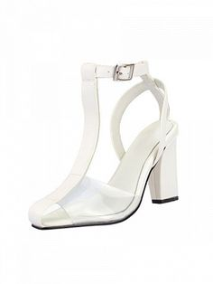 Shop White T-Bar Transparent Block Heeled Sandals from choies.com .Free shipping Worldwide.$81.9