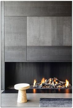 3 Comfortable and Modern Bedroom with Fireplace - We all need a warm bedroom to have the quality sleep. Try these comfortable and modern bedroom with fireplace. Bedroom Fireplace, Home Fireplace, Modern Fireplace, Living Room With Fireplace, Fireplaces, Fireplace Facade, Concrete Fireplace, Luxury Interior Design, Modern Interior