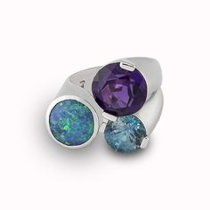 Custom 3 stone ring with black opal, blue zircon and amethyst in 14k white gold by Images Jewelers
