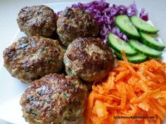 Homemade Turkish meatballs; a childhood favorite; delicious with grated carrot & red cabbage salad aside.