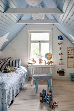 beach themed kid's room in blue and white - love the blue with stars on the sloped ceiling