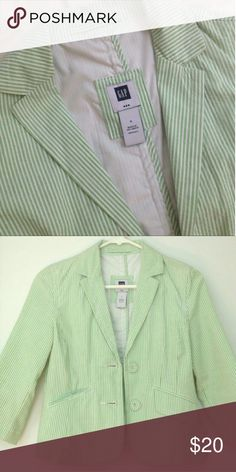GAP green seersucker  BLAZER NWT 2 New and cute as can be with a pair of shorts and a pair of posh heels! GAP Jackets & Coats Blazers