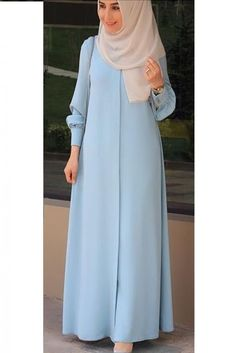 The Stylish and Elegent Abaya In Sky Blue Colour Looks Stunnings and Gorgeous With Trendy and Fashionable French Crepe Fabric. This is a completley customisable product after placing the order our des. Hijab Style Dress, Modest Fashion Hijab, Modern Hijab Fashion, Hijab Fashion Inspiration, Abaya Fashion, Fashion Outfits, Blue Fashion, Winter Fashion, Fashion Trends