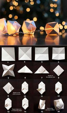 origami paper cube light, simple and sweet Wedding idea Origami Diy, Origami Tutorial, Origami Cube, Origami Balloon, Origami Boxes, Paper Balloon, Origami Ideas, Origami Frog, Geometric Origami