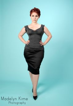 Miki Top in Black with White Polka Dots from Little Foxes. This site has some amazing pinup-style clothing