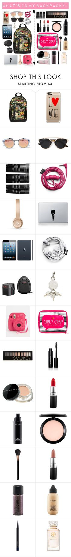 """What's in ma backpack?!"" by ulviyyagenest on Polyvore featuring Casetify, Westward Leaning, Christian Dior, Monki, Beats by Dr. Dre, Apple, Tumi, Alexander Wang, Happy Jackson and Forever 21"