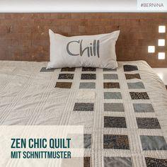 Nähe einen modernen, eleganten Zen Chic Quilt. Auf dem BERNINA Blog kannst du die ausführliche Nähanleitung in Deutsch mit begleitenden Fotos für die Arbeitsschritte ansehen und kostenlos downloaden.