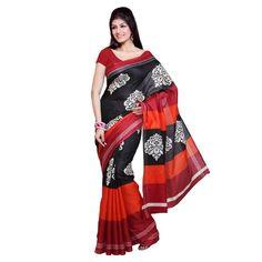 Fatkart Red and Black Silk Designer Saree