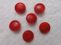 Vintage Bakelite Strawberry Red buttons set of 6 by Threadbender64,
