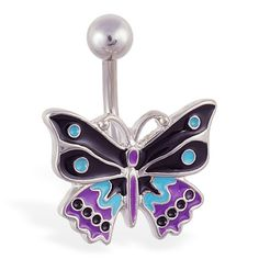 Fancy colorful butterfly belly ring.  #bellyring #piercing #bodypiercings #bodyjewelry #butterfly ♥ $7.99 via OnlinePiercingShop.com