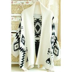 $17.48 Stylish Turndown Neck Geometric Pattern Thicken Long Sleeve Loose Fit Womens Cardigan Sweater