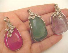 Check out 9 Large Colorful Assorted Agate Stone Pendants - Handmade Peruvian Jewelry Art on handmadeperujewelry