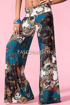 Plus Size Sexy Fold Over Waist Tall Teal Paisley Palazzo Yoga Pants XL-1X 2X 3X