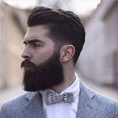 Chris John Millington - full thick dark beard mustache beards bearded man men mens' style dapper vintage retro styles barber grooming hair cut hairstyles bearding bowtie bow ties suits #beardsforever