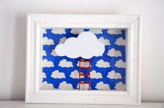 Shadow box Reach the Clouds  Handmade shadow box with decoupage .  ***Fun and stylish wall art for your home !!***  I used decoupage for the