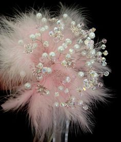 SWAROVSKI CRYSTAL BOUQUET PINK FEATHERS, PEARLS  JEWEL uk.picclick.com Inspiration for making feather and bead jewellry.