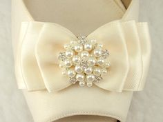 Bridal Shoe Clips, Satin Bow, Weddings Bridal Shoe clips, many colors are available, Made in USA