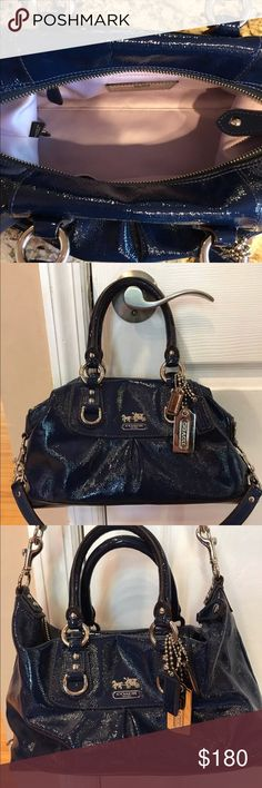 """🖤Coach Shoulder Bag Dark Blue 🖤(NWOT) (NWOT) ✅ I would consider this bag to be medium in size. Approximate dimensions are: 12"""" Length, 5"""" Width, 6"""" Height. (NWOT) Coach Bags Shoulder Bags"""