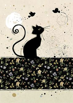 Chintz Cat by Jane Crowther. Design for Bug Art greeting cards.