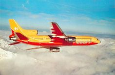 "Court Line Lockheed L-1011-385-1 TriStar 1 G-BAAA ""Halcyon Days"" in a promotional image from 1973."