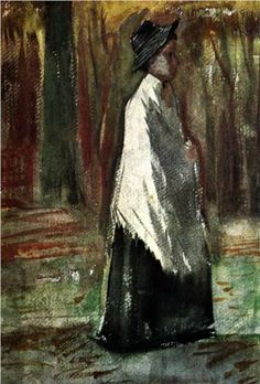 Vincent van Gogh (Dutch: 1853 – 1890) | Woman with White Shawl in a Wood (1882)