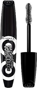 Rimmel Scandal Eyes Retroglam Mascara that plumps and curves lashes for an eyeconic 60's look! The hourglass brush is shaped to the lash line, pushing lashes up and out to create a bold, wide-eyed look.