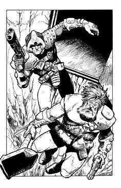 Johnny Alpha and Wulf from 2000ad's Strontium Dog. Art by the eternal Carlos Ezquerra.
