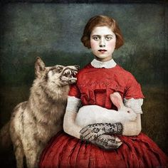 """Little Red Riding Hood - Le petit Chaperon Rouge - Beth Conklin - """"Innocence"""" Zine, Arte Cyberpunk, Big Bad Wolf, Pop Surrealism, Cool Posters, Red Riding Hood, Little Red, Pet Portraits, Altered Art"""