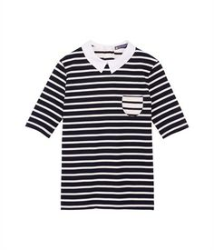 Women's heavy jersey breton top with shirt collar Abysse blue / Coquille beige - Petit Bateau