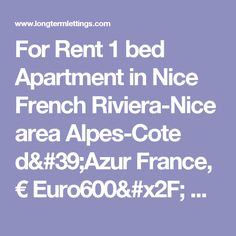 For Rent 1 bed Apartment in Nice French Riviera-Nice area Alpes-Cote d'Azur France, € Euro600/ month, Long Term Lettings - , 06300 Monthly rentals (tav_7275609)