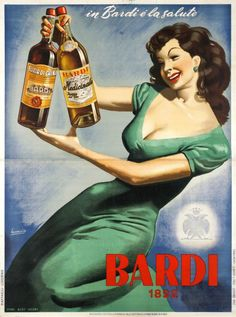 "Bardi, in Bardi é la salute. ""Be healthy with Bardi"" A rare large size Italian poster for the Bardi drinks, by Gino Boccasile, the Master of the ""Italian pin-up"". Boccasile Gino / 1950"