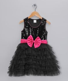 Take a look at this Black Sequin Tulle Ruffle Dress - Toddler & Girls on zulily today!