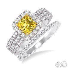 Modern Yellow diamond bridal set with a triple row diamond accented shank.