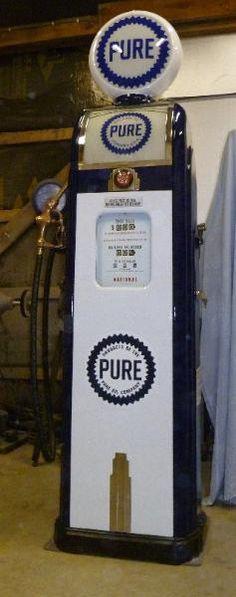 PURE OIL OLD TOKHEIM VINTAGE CLOCKFACE GAS PUMP BANNER SIGN MURAL ART 2' X 6'