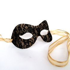 Pure Black and Gold Lace Masquerade Mask  Masked Ball Party Prom Mask on Etsy, $19.99