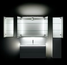 Lighting inside and outside vanity units and cabinets. Illuminate the bathroom in new ways - all energysaving LED.