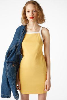 Monki Image 2 of Contrast strap slip dress in Yellow Reddish Light