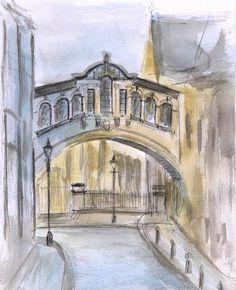 Bridge of Sighs watercolor sketch. Oxford England by madareli