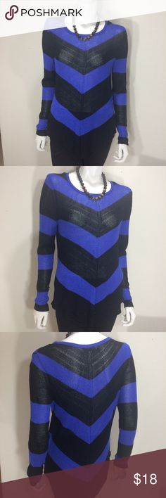 Purple & Black Jennifer Lopez Sweater Gently worn. Size Medium Semi Sheer Purple & Black Jennifer Lopez Chevron Print Sweater. Has shimmer in thread. 89% Rayon, 7% Polyester and 4% Other Fiber. Has one small snag on right arm... it isn't a hole... just wanted to disclose the one small imperfection in top. Measures approx 19 inches from armpit to armpit and 27 inches in length. No stains. Non smoking home. Jennifer Lopez Sweaters Crew & Scoop Necks