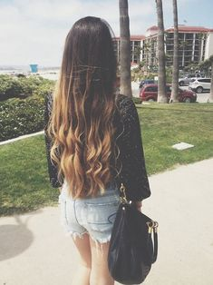 Lovely long hair. Dark brunette to caramel blonde ombre curls.