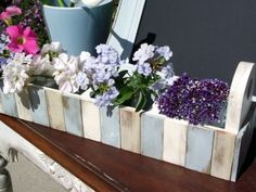"""""""This little planter is adorned with paint stir sticks! I love these for some of the 'Beach' signs I want to make!"""" + 20 more Paint Stick DIY Projects Paint Stir Sticks, Painted Sticks, Paint Stick Crafts, Paint Stirrers, Diy Craft Projects, Craft Ideas, Wood Projects, Garden Projects, Garden Ideas"""