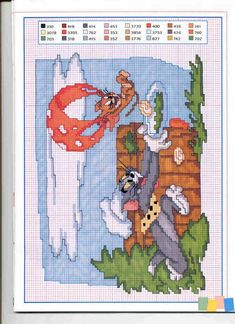 Tom e Jerry Cross Stitch Alphabet Patterns, Disney Cross Stitch Patterns, Cross Stitch Designs, Cross Stitch Boards, Cross Stitch Needles, Beaded Cross Stitch, Felt Embroidery, Cross Stitch Embroidery, Embroidery Patterns