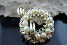 Art Deco Kramer Jewelry brooch pin pearl cz rhinestone wreath shiny circa minimalist Modernist Graceful pin  p003 by VintageEstate86 on Etsy
