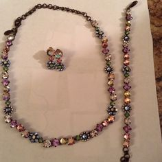Sorrelli set Beautiful spring rain Sorrelli  necklace, bracelet, and earrings. Excellent used condition. Sorrelli Jewelry Necklaces