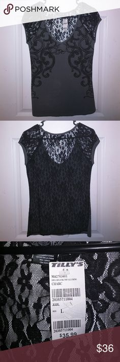 NWT, Metal Mulisha large, lace/see threw back, top Brand New with tags, never worn gray and black, Metal Mulisha top with lace see threw back. Metal Mulisha Tops Tees - Short Sleeve