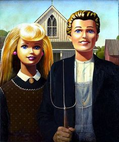 American Gothic satire-Ken and Barbie