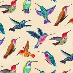 Elizabeth's Studio Los Cabos by Studio Voltaire 6204 Cream Hummingbirds $9.90/yd