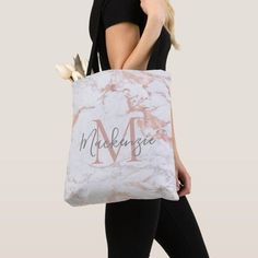 Elegant Rose Gold Foil | White Marble | Monogram Tote Bag Monogram Tote Bags, Personalized Tote Bags, Custom Tote Bags, Rose Gold Foil, Edge Design, Christmas Card Holders, White Marble, Holiday Cards, Reusable Tote Bags