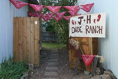 "Cowboy themed party. Dude Ranch Sign. Make a Wanted Sign out of a paper bag and a ""get your gear sign"" for bandana's, hats, etc."